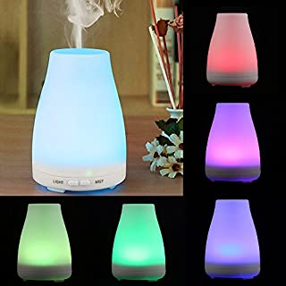 Ultrasonic Aroma Diffuser 7 Color Changing LED Lights Cool Air Humidifier Essential Oil Mist Aroma Diffusers Auto Shut-off for Home Baby Room Bedroom Office