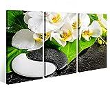 Leinwandbild 3 Tlg. Yin Yang Wellness Steine Blume Feng Shui Orchidee Leinwand Bild Bilder Holz - fertig gerahmt 9O1027, 3 tlg BxH:90x60cm (3Stk 30x 60cm)