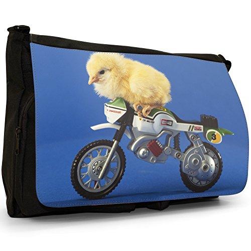 Fancy A Bag Borsa Messenger nero Ducks Chicken On Bike