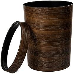 WEIZQ Retro Style Bois,Poubelle à anneau de pression-Marron foncé