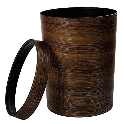 OIURV 10L Retro Stil Mülleimer Papierkörbe Mimetisches Holz Kunststoff ohne Deckel Abfalleimer für Büro Badezimmer Schlafzimmer küche Braun -