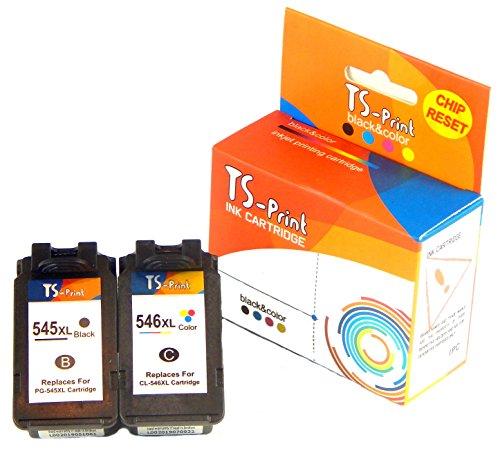 TS-Print Multi-pack Set di 2 cartucce d'inchiostro compatibili con Canon PG-545 XL PG-545XL (21ml XXL) nero black bk + CL-546 XL CL-546XL (18ml XXL) colorata tri-color