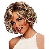 Damenperücke Perücke SUCES Kurz Locken Synthetische Perücken Mode Gold natürliche Haar für Frauen Lockige Wigs Peruecke wie Echthaar Blonde (Gold)