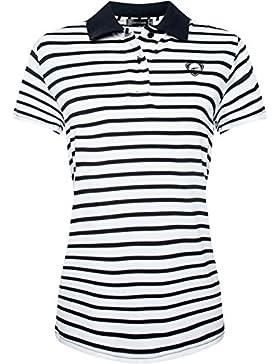 Jeansian Mujeres Rayas Camisetas Polo Manga Corta T-Shirt Polos Stripe Sportswear LSL163