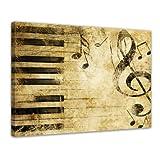 """Bilderdepot24 Leinwandbild """"Grunge Musik"""" - 80 x 60 cm 1 teilig - fertig gerahmt, direkt vom Hersteller"""