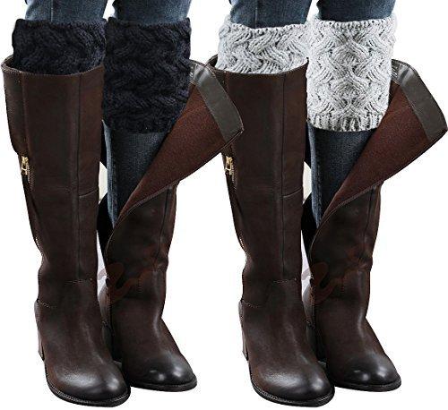 Loritta Damen 2 paare winter-crochet strickstiefel cuffs toppers short leg warmer einheitsgröße b-2 paar (ivory white & beige)