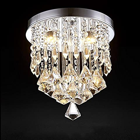 Modern Fashion Romantic Crystal Pendant Ceiling Light Round Clear Crystal Chandelier Stainless Steel Fixture D25cm H28cm