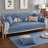 HM&DX Sofa abdeckung Baumwolle Sofa Überwurf Multi-size Gesteppter Einfarbig Anti-rutsch Schmutzresistent Sofaschonbezug Geldklammer Für sektionaltore couch Wohnzimmer -blau 90x210cm(35x83inch)