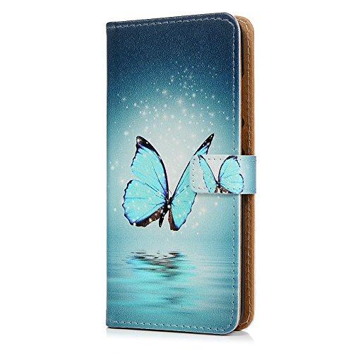 Tophung Étui en similicuir de polyuréthane de qualité supérieure avec protection anti-chocs, rabat à fermeture magnétique, fonction support et porte-cartes pour Huawei P20 Papillon Bleu