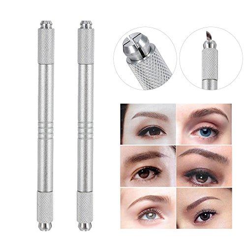Anself Dual-Kopf Augenbraue Tattoo Pen Permanent Make-up Maschine Manuelle Zink-Legierung (Silber x2)