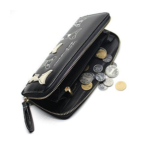 Portafogli Donne Sacchetto di frizione borsa della moneta borsa del raccoglitore del cuoio delle donne nero Black