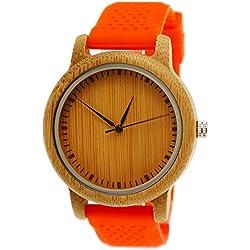 "Henny Klein designer Unisex Damen Herren Öko Natur Holz Armbanduhr Uhr mit Silikon Armband in Orange ""limitierte edition"" inkl. Uhrenbox"