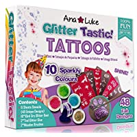 Ana and Luke Glitter Tattoos Kit XL, Mega Fun Party Pack (62 Piece), Face, Body for Girls, Kids, 10 Large Pots of Glitter, 48 Adhesive Stencil Temporary Designs, 2 Glues, 2 Brushes Xmas Birthday