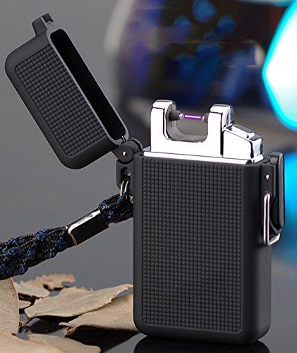 [Arc Feuerzeug für Camping] cjoy Flammenlose Elektrische Feuerzeuge USB wiederaufladbar mit Klettern Clip schwarz matt Geschenke für Wandern Liebhaber - schwarz
