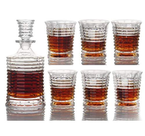 Yycdd bicchiere da whisky - set da 7 pezzi, cristallo trasparente senza piombo, boccale da birra decanter confezione regalo bottiglia di vetro, alla moda/la scelta migliore