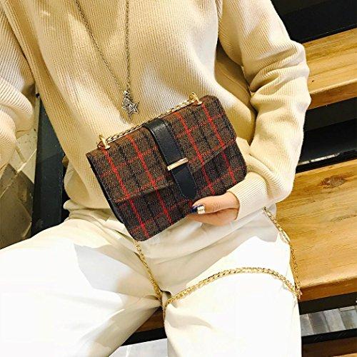 alla Marrone superiore singola lana donne spalla cintura Slash solido Bag Colore moda a materiale moda fibbia Longra strisce TxY0HOY