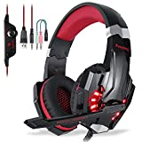 EasySMX Micro Casque PS4 Gaming, Casque Audio Stéréo Basse avec LED lumière, Casque Gaming Bien Anti-Bruit, Casque Gamer Confortable Compatible pour PS4/PC/Laptop/Tablette/Smartphone (Noir+Rouge)
