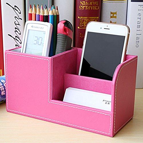 Organizer Schreibtisch Zubita Tisch Organizer / Multifunktionale Ablagesystem mit Bürobedarfset / Aufbewahrungsbox / Kosmetikbox Stifthalter / Kartenetui / Leder büro Speicherabteil ( Rose rot )