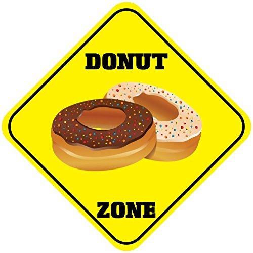 aqf527907 Donut Zone CROSSING Schilder Metall Schilder gelb Diamant Aluminium Neuheit Funny Metall Wandschild 12x 12 (Donut-stil Diamant)
