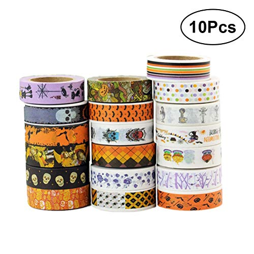 HEALIFTY 10 stücke Washi Tape Halloween Thema Dekorative Abdeckbänder für DIY Kunst Scrapbooking Handwerk Geschenkverpackung (Gelegentliches Muster)