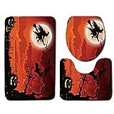 VEMOW Heißer Halloween Schwarze Katze WC Sitzbezug und Teppich Badezimmer Set Halloween Decor(E, 45cmX37.5cm(Tankdeckel))