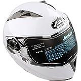 Casco de Moto de Doble Lente con Visera Integral Casco de Protección de Motocicleta (XL, Blanco)