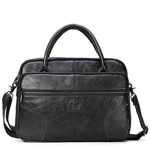 Lianai11 Laptoptasche Handtasche Business Männer Aktentasche Leder Laptoptasche Doppel Reißverschluss Design Männer Umhängetasche Office Bag Schwarz China
