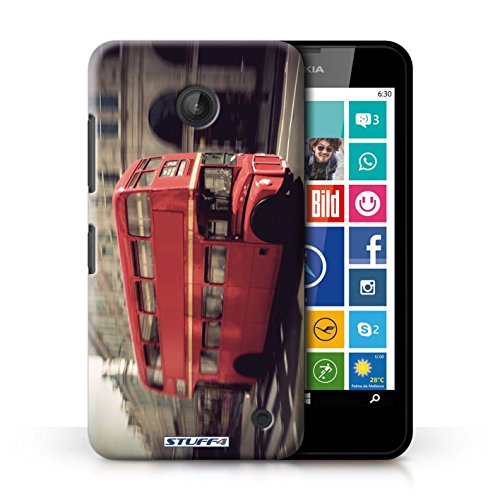 Kobalt® Imprimé Etui / Coque pour Nokia Lumia 635 / Tower Bridge conception / Série Londres Angleterre Rouge Bus
