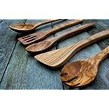 Naturally Med - Set di 5 utensili da cucina, in legno d'ulivo, lunghezza 35 cm