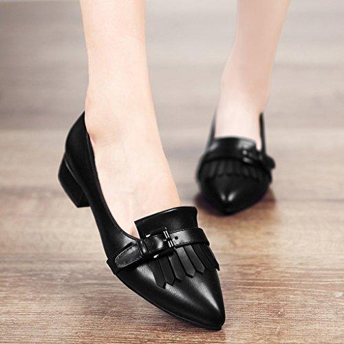 HWF Scarpe donna Spring Pointed Shallow Mouth Scarpe singole Flat British Style Black Leather Pendolarismo Scarpe da donna Flat Fashion Shoes Female ( Colore : Nero , dimensioni : 35 ) Nero