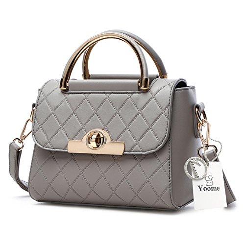 Yoome frizione con le borse di Tote Diaper per le donne Borse eleganti per il portafoglio di borsa delle signore di fascino - Bianco Grigio