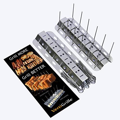 VertiGrille Spieße 2 Pack (24 Spieße): Hühnerflügelständer, Rippenständer, Jalapeno Popper Grill, Bierdosenständer, Gemüsebräter, Fischgrill, 2 Stück Taco Muschelhalter Rostfrei