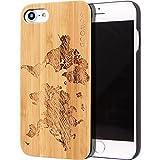 GOWOOD Coque iPhone 7 et 8 en Bois | Coque en Bois de Bambou avec Gravure Carte du...