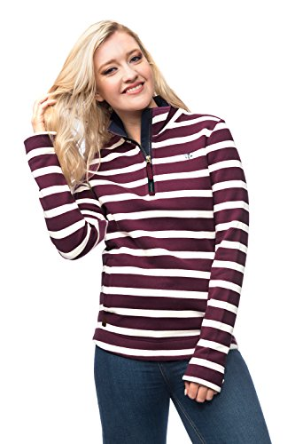 Lighthouse Skye Femme Half Zip coton Sweat Stripe Plum