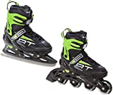 Raven 2in1 Schlittschuhe Inline Skates Inliner Profession Black/Green verstellbar