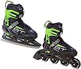 2in1 Schlittschuhe Inline Skates Inliner Raven Profession Black/Green verstellbar