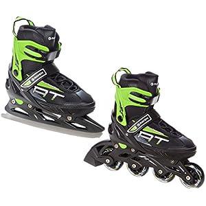 Raven 2in1 Schlittschuhe Inline Skates Inliner Profession Black/Green verstellbar