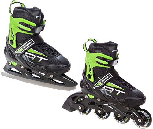 2in1 Schlittschuhe Inline Skates Inliner Raven Profession Black/Green verstellbar (38-41 (25cm-27,5cm))