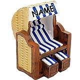 alles-meine GmbH Große Figur / Dekofigur -  Strandkorb - Blau  - inkl. Name - aus Kunstharz /..