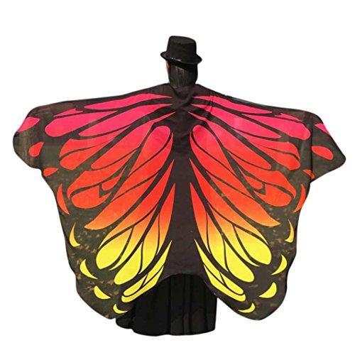 Damen Weicher Gewebe Schmetterlings Flügel Schal, Zolimx Nymphen Pixie Kostüm Zusatz (Orange1)