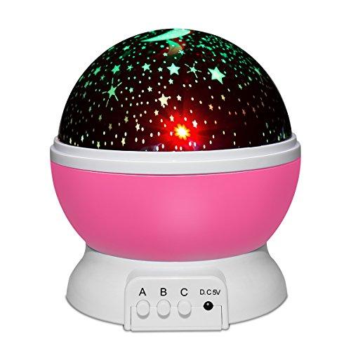 Yasolote lampada proiettore stelle, luce proiettore lampada 360 di rotazione lampada di illuminazione notturna led con 12 tipi di melodie cosmos regali di natale bambini compleanni feste (rosa)