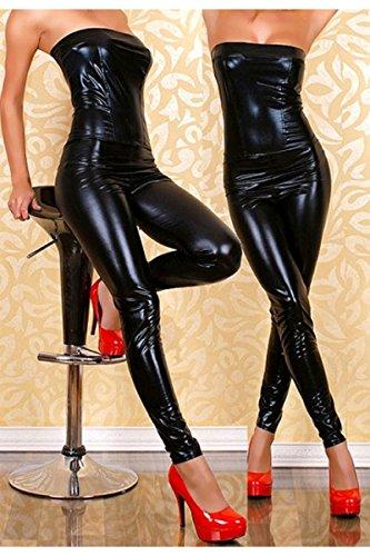 Seoras-negro-stretch-aspecto-mojado-sin-tirantes-Mono-Catsuit-Clubwear-ropa-tamao-UK-10–12-EU-38–40