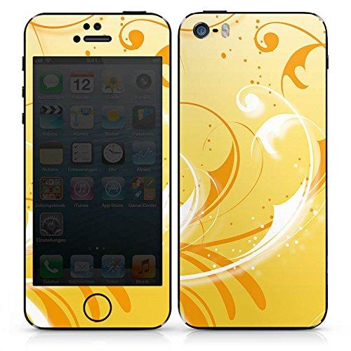 Apple iPhone 5s Case Skin Sticker aus Vinyl-Folie Aufkleber Ranken Ornamente Gelb DesignSkins® glänzend