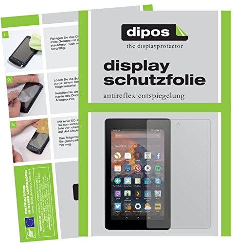 Amazon Fire HD 8 (2017) Schutzfolie - 2x dipos Displayschutzfolie Folie matt