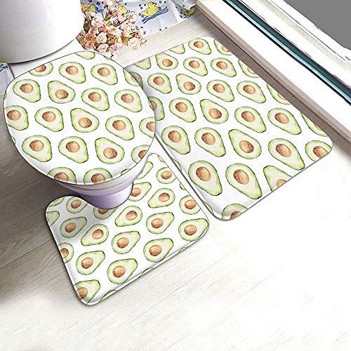 JHDF Conjuntos de alfombras de baño 3 Piezas Alfombras de baño absorbentes Antideslizantes de Aguacate Verde Alfombrilla de Contorno en Forma de U Alfombrilla para Inodoro
