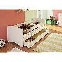 Preisvergleich für Best For Kids Kinderbett 70x160 mit Rausfallschutz + Schublade 44 Designs (Weiß)