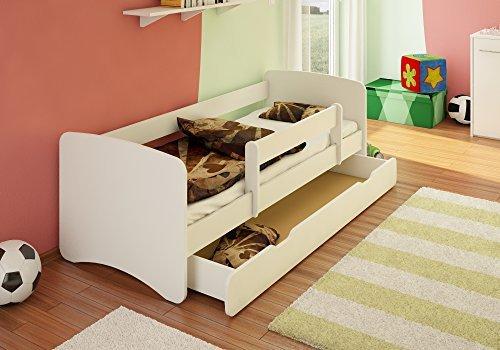 *BEST FOR KIDS Kinderbett 70×160 mit Rausfallschutz + Schublade 44 Designs (Weiß)*