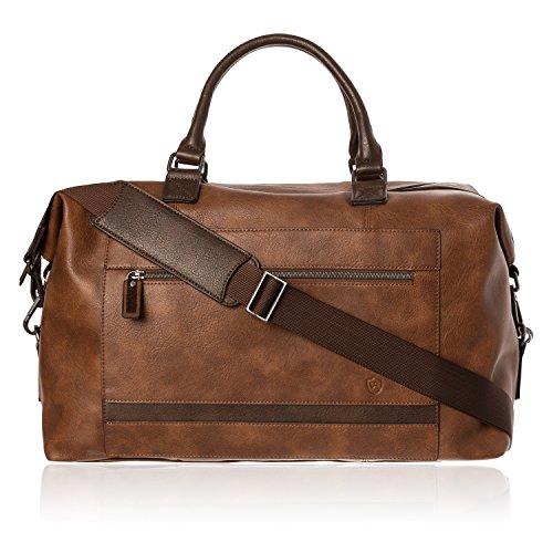 VON HEESEN Reisetasche Weekender Bag Reisegepäck Handgepäck Tasche mit Trolleyfunktion aus Kunstleder für Damen & Herren (Cognac-Braun)