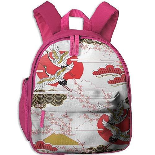 Funny Schoolbag Backpack Red-Crowned Crane and Flower Toddler Kids Pre School Bag Cute 3D Print Children School Backpack -