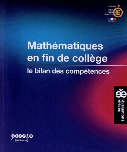 Mathématiques en fin de collège : Le bilan des compétences